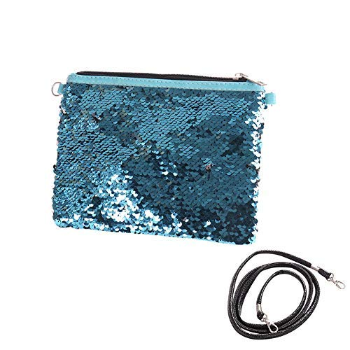whatBYDs Cosmetic Bags Women Sequin Large Capacity Clutch Handbag Strap Bling Makeup Pouch - Silver + Blue