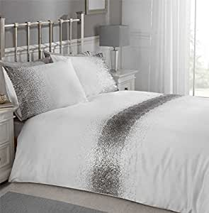 OMBRE SEQUINS BAND SILVER CHARCOAL GREY WHITE CANADIAN QUEEN SIZE (COMFORTER COVER 230 X 220 - UK KING SIZE) (PLAIN SILVER GREY FITTED SHEET - 152 X 200CM + 25 - UK KING SIZE) 4 PIECE BEDDING SET