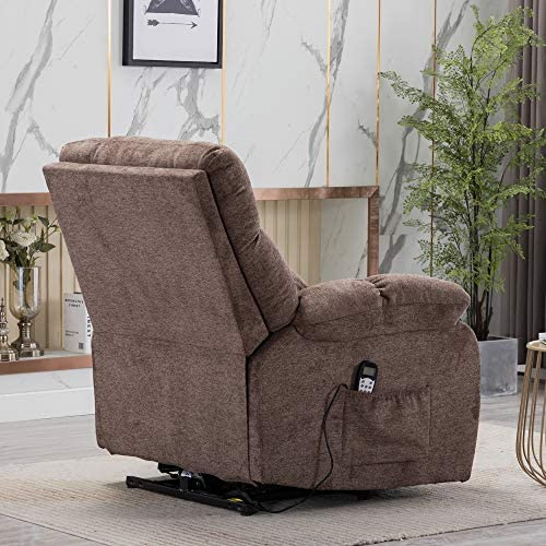 Electric Lift Recliner with Heat Therapy and Massage, Suitable for The Elderly, Heavy Recliner, with Modern Padded arms and Back, Taupe