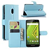 Premium Leather Wallet Case Cover with Stand Card Holder for Motorola Moto X Play (2015) Phone (Wallet - Sky Blue)