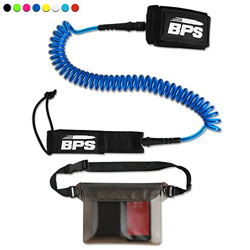 BPS 10 Coiled SUP Leash with Rail Saver with Rail Saver w/Waterproof Waist Carry Bag - Dark Blue