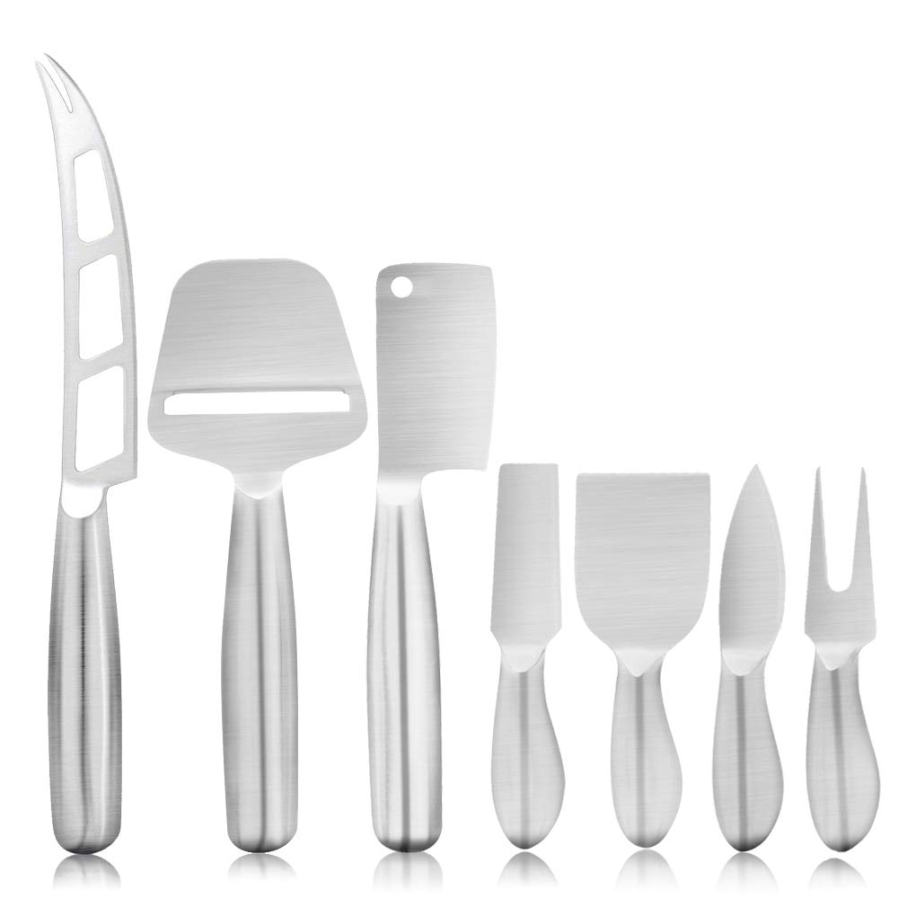Cheese Knife, Eagmak 7-Piece Cheese Knives Set Cheese Knife Gift Set Stainless Steel Cheese Spreader Cheese Slicers Spreader & Fork Set Multipurpose Cheese Spreader Knives by EAGMAK