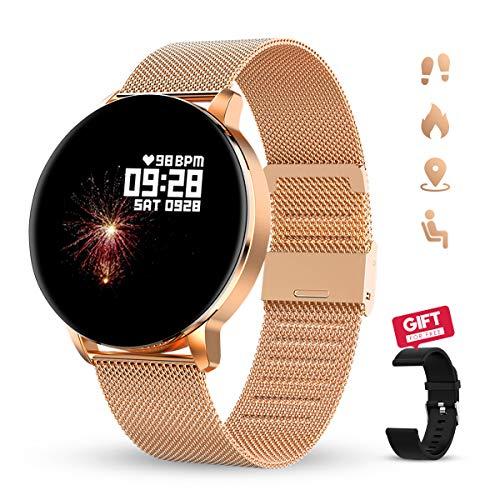 🥇 GOKOO Reloj Inteligente Hombres Mujeres Smartwatch Reloj 1.3 Pulgadas Pantalla Completa Táctil Reloj Deportivo IP67 Impermeable Compatible con Android iOS