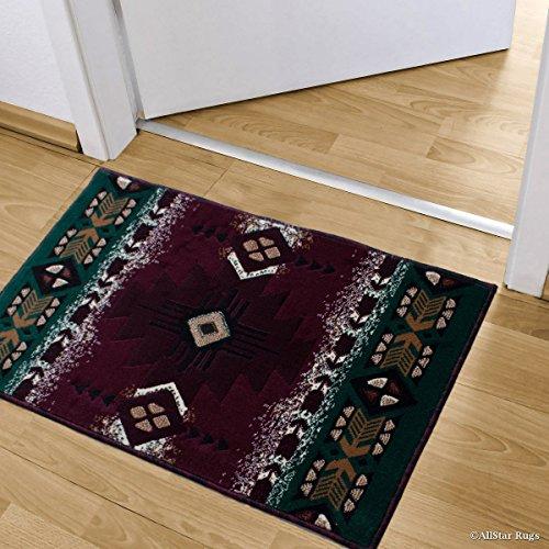 3' Drop Shot - Allstar Burgundy Doormat Accent Rug Woven High Density Double Shot Drop-Stitch Carving (2' 0