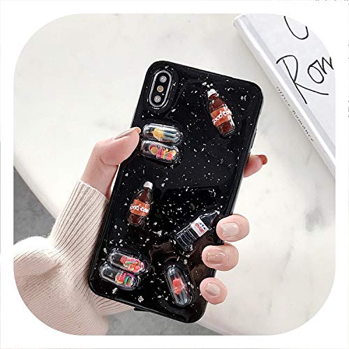 Epoxy 3D Drink Bottle Phone Capsule Phone Case for iPhone Xs MAX XR Transparent TPU Back Cover for iPhone X 8 7 6S 6 Plus Coque-in Half,Black,for iPhone 7