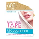 Hair Extension Tape REGULAR Hold Compatible with Hot Heads, Hairdreams, Babe & Most Other Brands, 4cm x .8cm Hair Extension Tape, Professional Double Sided Extension Tape