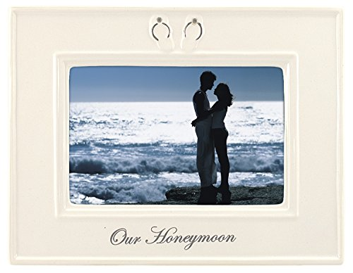 Malden International Designs Glazed Ceramic With Silver Accents Our Honeymoon Picture Frame, 4x6, White