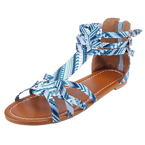 refulgence Bohemian Sandals Women Open Toe Bandages Flat Sandals Ladies Bohemia Gladiator Sandals Multicolor(Blue,US=9