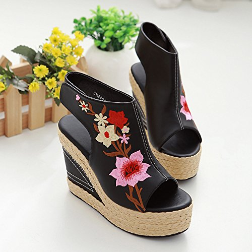 four Straw Embroidery Female Wedges Shoes Wedge Sandals Fallfish National Embroidery Companion Female Thirty KHSKX Mouth Sandals wFx7CZwAq