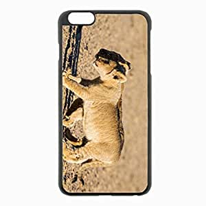iPhone 6 Plus Black Hardshell Case 5.5inch - lions cubs walking couple shadow Desin Images Protector Back Cover