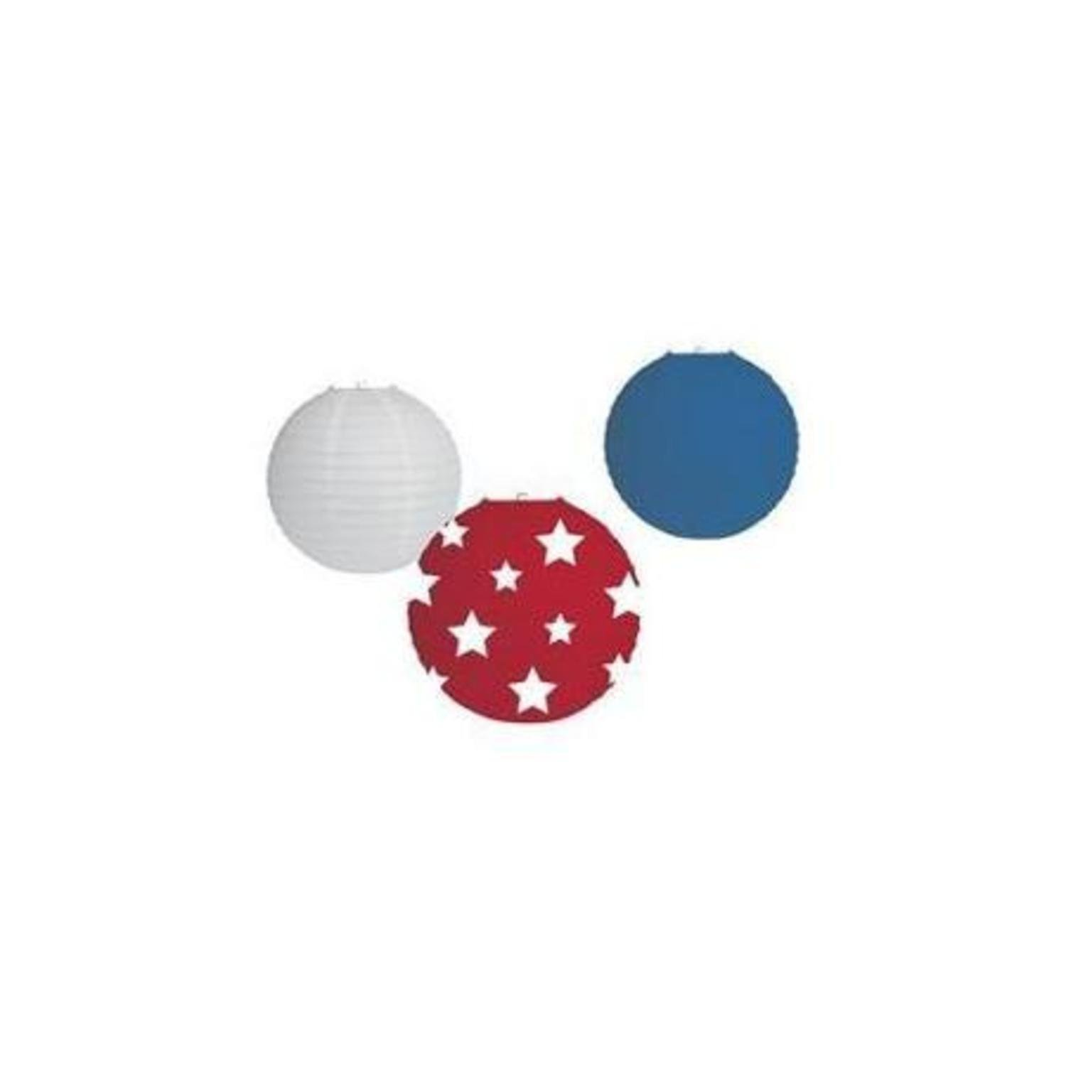 Pack of 36 Patriotic Red White and Blue Star Hanging Paper Lantern Memorial Day and Fourth of July Party Decorations