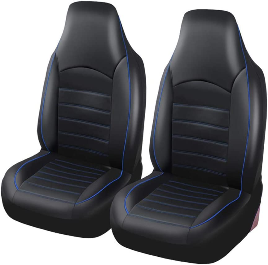 Autoyouth Pu Leather Front Car Seat Covers Fashion Style High Back Bucket Car Seat Cover Auto Interior Car Seat Protector 2pcs For Toyota 2pc Blue Automotive Amazon Com