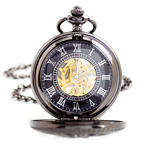 FENKOO Quartz pocket watch Retro clamshell mechanical pocket watch men's business machinery pocket watch dress accessories mechanical watch pocket watches ( Color : 1 ) by FENKOO (Image #4)