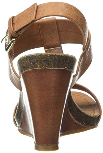 Moda in Pelle Parola - Sandalias con cuña Mujer Marrón - marrón (Tan)
