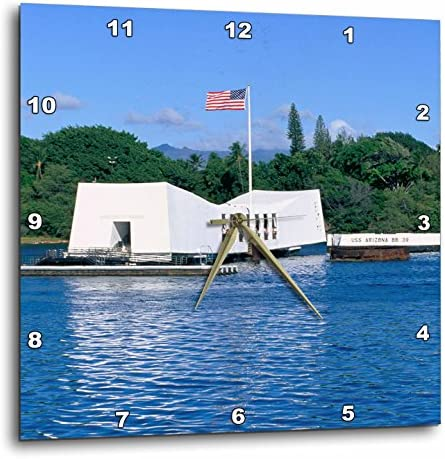 3dRose WWII Arizona Memorial, Pearl Harbor, Hawaii, US12 DPB0116-Douglas Peebles-Wall Clock, 13-inch DPP_89547_2