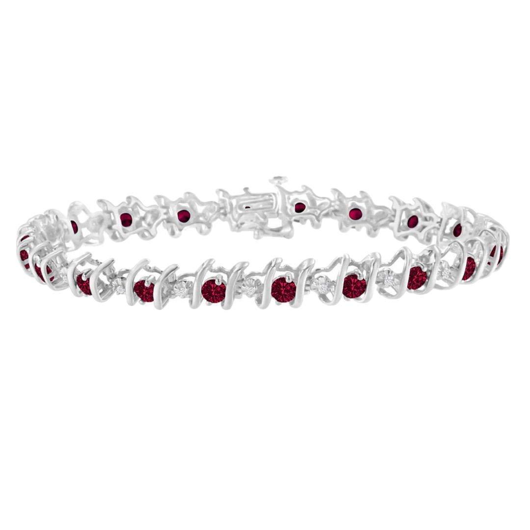Original Classics Sterling Silver Lab Created Ruby and Diamond S-Link Tennis Bracelet (H-I, I1-I2)