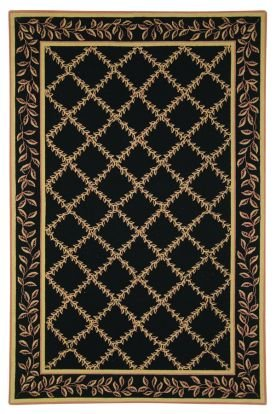 4' x 4' Round Safavieh Area Rug HK230D-4R Black/Gold Color Hand Hooked China