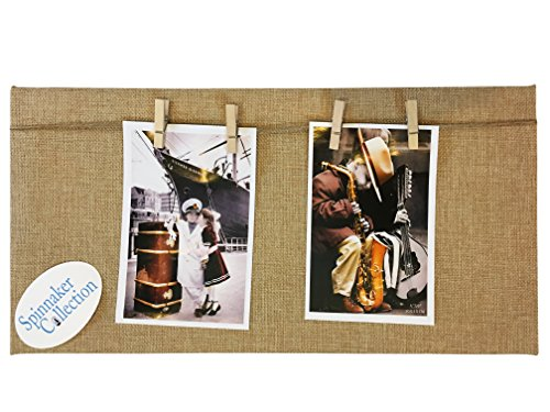 Spinnaker Collection Country Burlap Photo Board with Wood Clothes Pin Hangers - 8