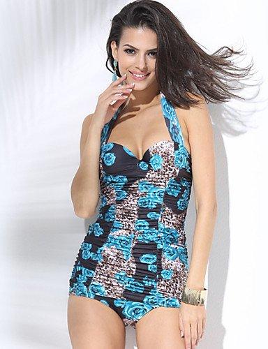 HHBO De las mujeres Una Pieza-Cintura Alta Monocolor Floral Boho Deporte RetroHalter-Nailon Blue