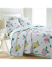 Cozy Line Home Fashions Red Peony Blooming Green Turquoise Garden Floral Flower Printed Cotton Quilt Bedding Set