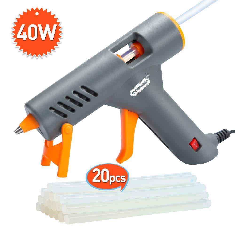 Hot Glue Gun, E.Durable 40W Mini Hot Melt Glue Gun Kit Professional High Temp Glue Tool Kit with Adhesive Sticks for Arts Crafts School Home Repair DIY