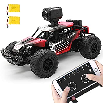 Gizmovine Remote Control Car with Camera, High Speed Racing Off-Road RC Cars with 2 Rechargeable Batteries, Waterproof RC Monster Trucks Buggy Vehicle Electric Toy Cars for All Kids Boy: Toys & Games