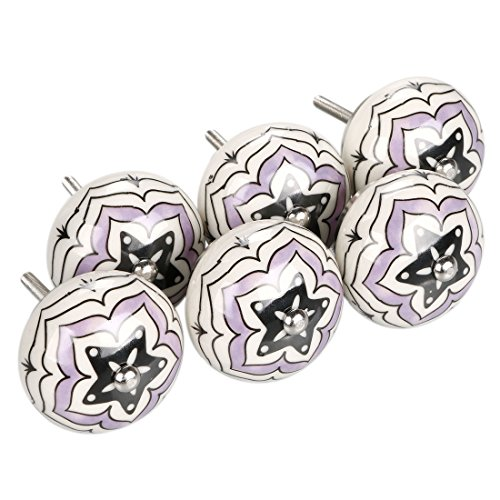 (uxcell 6 Pieces Vintage Shabby Knobs Purple and White Floral Hand Painted Ceramic Pumpkin Cupboard Wardrobe Cabinet Drawer Door Handles Pulls Knob, Five-Pointed Star)