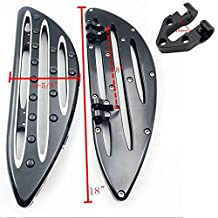 HTT Motorcycle Front Black CNC Deep Cut Driver Stretched Floorboards For Harley Davidson Touring Electra Glide Classic CVO Anniversary