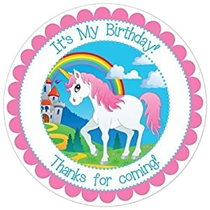 Unicorn and Rainbow Birthday Stickers, Unicorn Birthday Labels (2.5 inch round, 36 count)