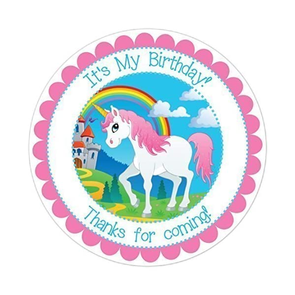 Unicorn and Rainbow Birthday Stickers, Unicorn Birthday Labels (2.5 inch round, 36 count) 3