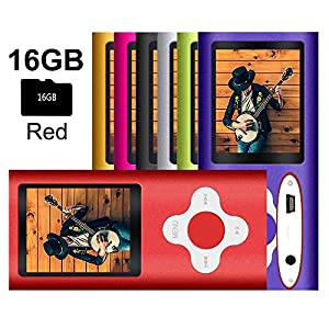 G.G.Martinsen Red Versatile MP3/MP4 Player with a 16GB Micro SD card, Support Photo Viewer, Recorder & Radio, Mini USB Port 1.8 LCD, Digital Music Player, Media/ Video Player, MP3 Player, MP4 Player