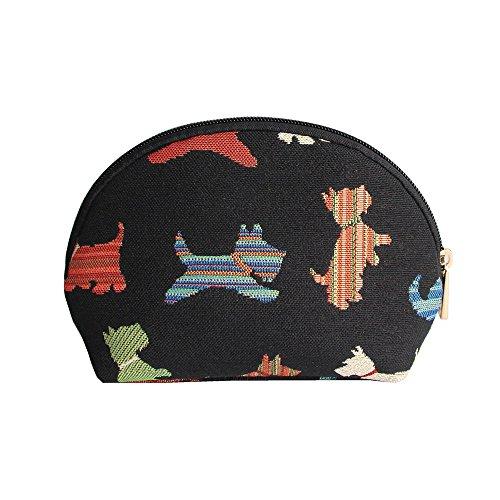 Black Dog Print Scottie Tapestry Makeup Bag Travel Cosmetic Bag Brush Bag for Women Girls by Signare ()