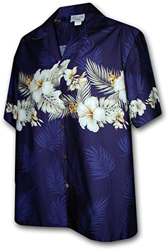 Pacific Legend Mens Tropical Garden Shirt Navy Blue XL