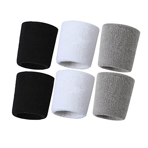 (Hanerdun Wrist Sweatbands Thick Cotton Terry Cloth Wristbands For Men And Women Athletic Sweat Bands For Sports Tennis Gym Basketball)