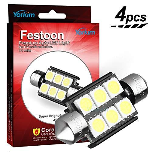 Yorkim LED Light Bulb, 4pcs White Error free Light 36mm 5050 6-SMD 12V Festoon LED for 3021 DE3021 6411 6413 6418 DE3423 DE3425 (Pack of 4)