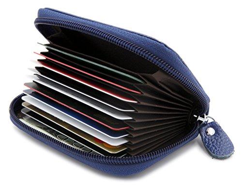 - RFID Wallet Credit Card Holders Case Organizer Genuine Leather Zipper Wallet - Navy Blue