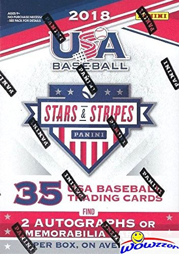 2018 Panini USA Stars & Stripes EXCLUSIVE Factory Sealed Retail Box with (2) AUTOGRAPHS or MEMORABILIA Cards! Look for On-Card Autos from Top 2017 MLB Draft Picks & USA Alumni Superstars! WOWZZER!