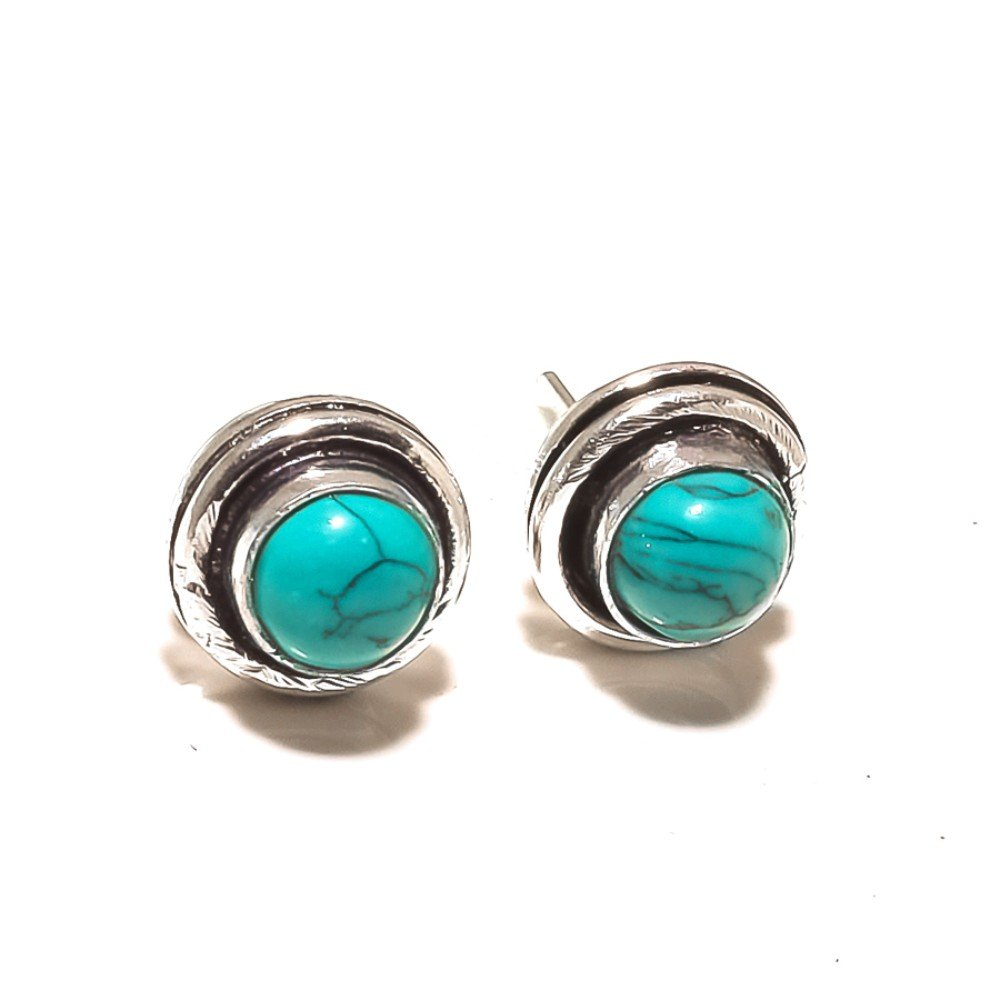 Gift Jewelry Blue Turquoise Sterling Silver Overlay 4 Grams Stud//Earring 10 mm