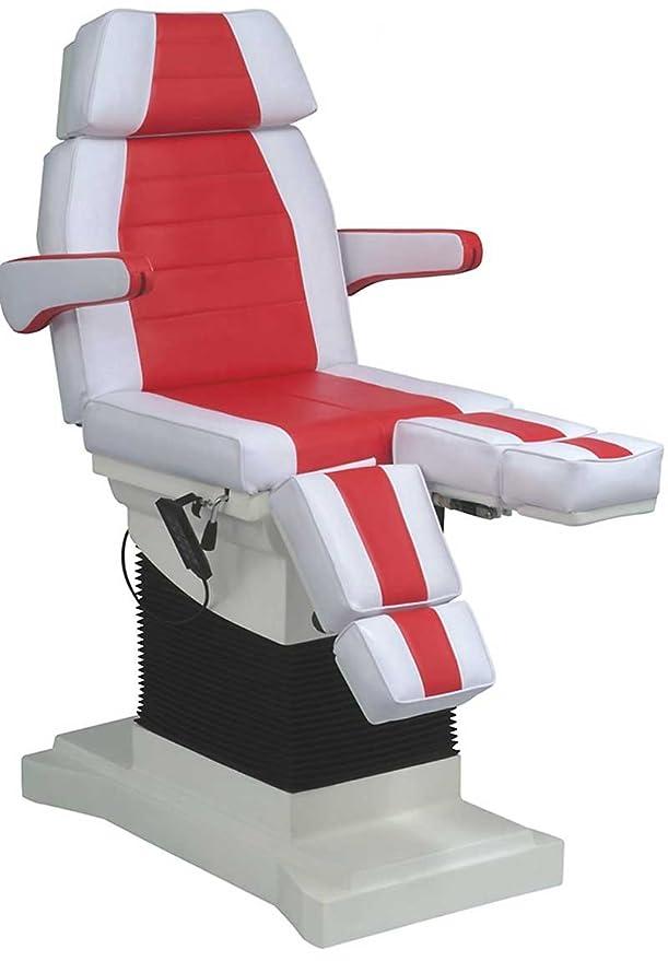 elektrischer rollbarer Luxus-Fußpflegestuhl Kosmetikstuhl Neigungsverstellung Farbe weiß / rot