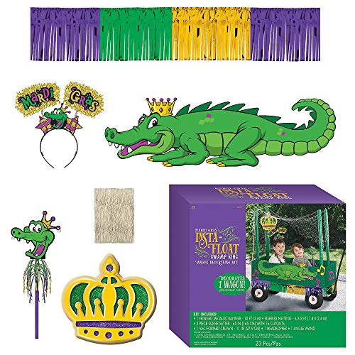 Amscan Mardi Gras Float Kit, Wagon Decorating Kit, 23 Pieces, Includes Banner and More