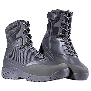 FREE SOLDIER Mens Waterproof Boots Tactical Side Zipper Shoes Military Winter Ski Boots(Gray 7)