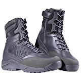 FREE SOLDIER Mens Waterproof Boots Tactical Side Zipper Shoes Military Winter Ski Boots(Gray 10.5)