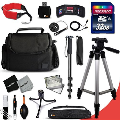 Nikon Coolpix Complete ACCESSORIES Kit for Nikon COOLPIX P900, P610, P600, P530, 1 S2, 1 J4, 1 V3, 1 AW1, 1 J3, 1 J2, 1 J1, 1 S1, 1 V2, C810, P520, P340, P310, P510, P4, P3, S9900, S7000, S6900, S3700, S2900, S33, S32, S9700, S9500, P7800, P7700, L840, L830, L820, L330, L320, L620, L610, AW130, AW120, AW110 Digital Cameras Includes: 32GB High Speed SD Memory Card + Pro Grade 60′ inch Tripod + Full size 72′ Inch Monopod + Well Padded Camera Case + Floating Foam Hand-Strap + Gold plated HDMI Cables + Memory Card Wallet Case Holder + 58mm Center Pinch Lens Cap + Lens Cap Holder + 2 Screen Protectors + Universal Memory Card Reader + Cleaning Dust Blower + Cleaning Pen + Mini Flexible Table Tripod + Deluxe Cleaning Kit