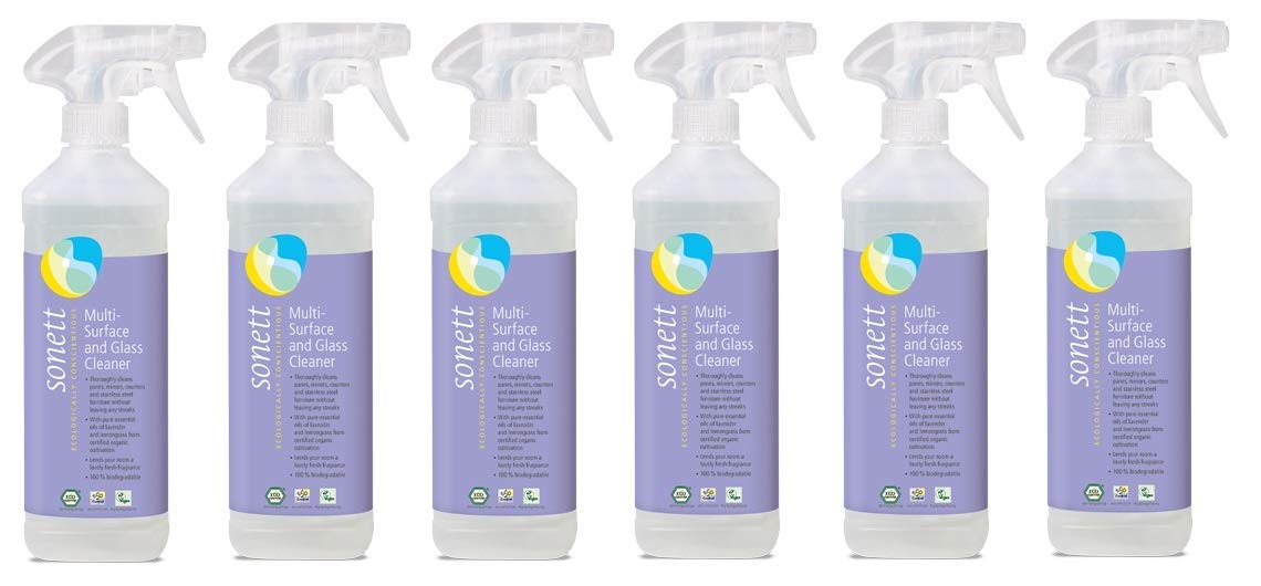 Sonett Organic Multi-Surface and Glass Cleaner 16.9 fl oz/ 0.5 Liter (Pack of 6) - Thoroughly Cleans panes, Mirrors, counters and Stainless Steel Furniture Without Leaving Any Streaks.