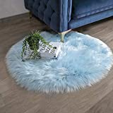Ashler Faux Fur Light Blue Round Area Rug Indoor Ultra Soft Fluffy Bedroom Floor Sofa Living Room 3 x 3 Feet