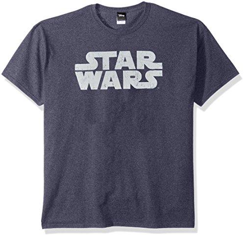 Logo Graphic Tee - Star Wars Men's Simplest Logo Graphic Tee, Navy Heather, XX-Large