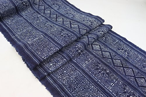 Hmong Traditional Batik Fabric, Cotton Fabric, handmae Fabric for Bed Runner, Table Runner, Home Decoration, Craft (Hand Batik Cotton Table Runner)