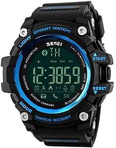 ساعة ذكية بسوار استك لانظمة تشغيل اندرويد وIOS من سكماي، لون ازرق، 1227