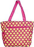 Polka Dot Travel Tote Bag (Pink Green)
