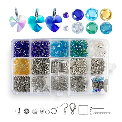 ing Kit,6mm Crystal Glass Faceted 4mm Bicone Spacer Bulk Beads,Professional Earrings Bracelets DIY Jewellery Making Kit for Beginners and Adults,800pcs ()